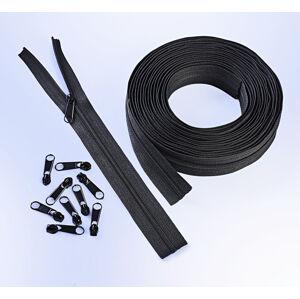 Magnet 3Pagen 6 m nekonečného zipsu + 25 zipsových jazdcov čierna