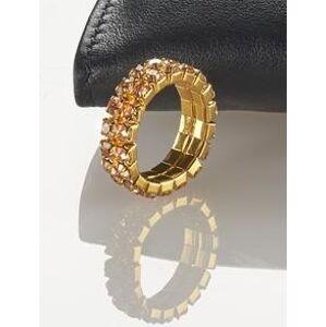 Magnet 3Pagen Pružný prsteň s kamienkami zlatistá/jantárová